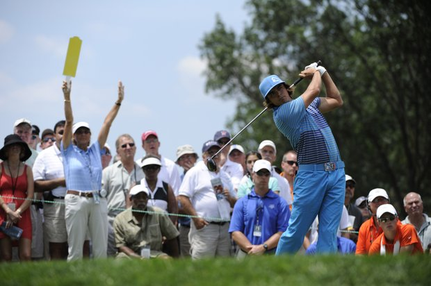 Rickie Fowler tees off the on the third hole during the third round of the AT&T National golf tournament at Aronimink Golf Club, Saturday, July 2, 2011, in Newtown Square, Pa.