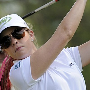 Paula Creamer tees off during a practice round for the 66th U.S. Women's Open Championship.