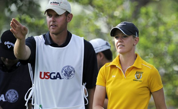 Amy Anderson (right) with her brother-caddie Nathan during the resumption of first-round play Friday at the U.S. Women's Open.