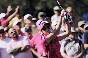 Paula Creamer hits off the tee on the third hole during the conclusion of the first round, which was delayed by weather, of the Women's U.S. Open golf tournament at the Broadmoor Golf Club on Friday, July 8, 2011, in Colorado Springs, Colo.