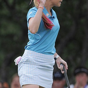 Paula Creamer waves after making a birdie on the 10th hole during the second round of the Women's U.S. Open golf tournament at the Broadmoor Golf Club on Friday, July 8, 2011, in Colorado Springs, Colo.