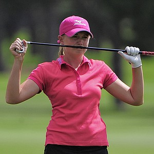 Stacey Lewis reacts to her approach shot on the third hole during the second round of the Women's U.S. Open golf tournament at the Broadmoor Golf Club on Friday, July 8, 2011, in Colorado Springs, Colo.