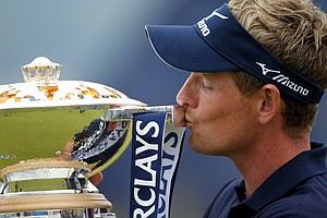 Luke Donald of England kisses the trophy following his victory at the end of the final round of The Barclays Scottish Open at Castle Stuart Golf Links on July 10, 2011 in Inverness, Scotland.