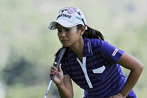 Ai Miyuazato, of Japan, studies a putt on the second green as she finishes the delayed second round of the U.S. Women's Open golf tournament at the Broadmoor Golf Club on Saturday, July 9, 2011, in Colorado Springs, Colo.