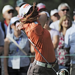 Paula Creamer hits off of the third tee during the delayed third round of the Women's U.S. Open golf tournament at the Broadmoor Golf Club on Sunday, July 10, 2011, in Colorado Springs, Colo.