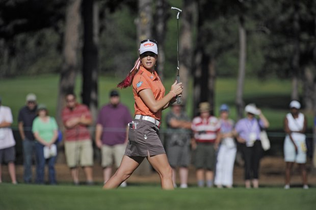 Paula Creamer reacts as she misses a birdie putt on the second hole during the delayed third round of the Women's U.S. Open golf tournament at the Broadmoor Golf Club on Sunday, July 10, 2011, in Colorado Springs, Colo.