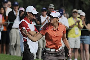 Paula Creamer waves after saving par on the fifth hole during the conclusion of the delayed third round of the Women's U.S. Open golf tournament at the Broadmoor Golf Club on Sunday, July 10, 2011, in Colorado Springs, Colo.