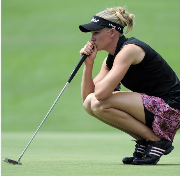 Ryann O'Toole lines up a putt on the 10th hole during the delayed third round of the Women's U.S. Open golf tournament at the Broadmoor Golf Club on Sunday, July 10, 2011, in Colorado Springs, Colo.