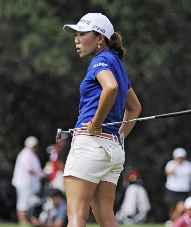 I. K. Kim of South Korea reacts after missing a birdie putt on the eighth hole during the delayed third round of the Women's U.S. Open golf tournament at the Broadmoor Golf Club on Sunday, July 10, 2011, in Colorado Springs, Colo.