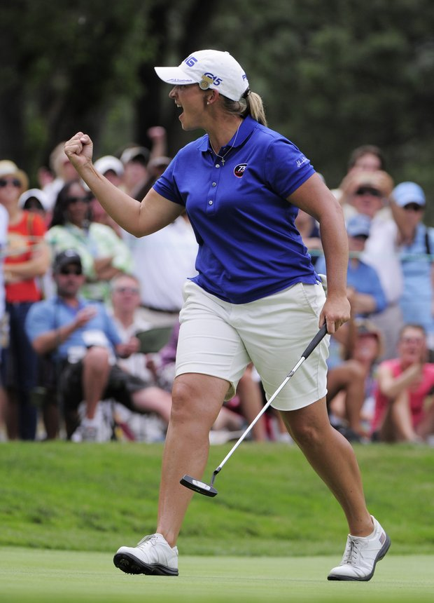 Angela Stanford reacts after she birdies the fifth hole during the fourth round of the Women's U.S. Open golf tournament at the Broadmoor Golf Club on Sunday, July 10, 2011, in Colorado Springs, Colo.