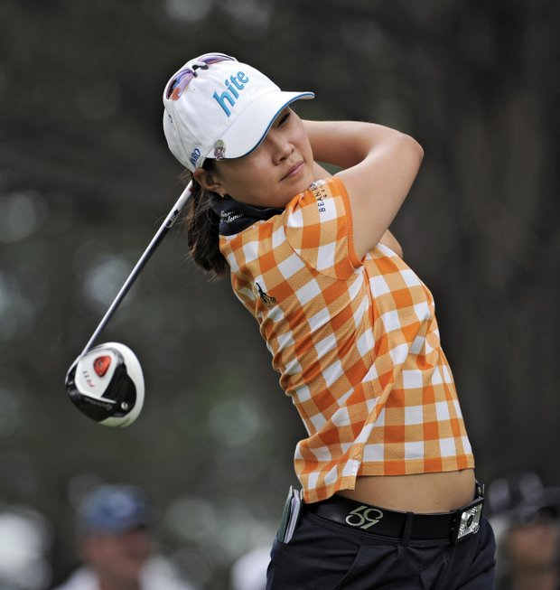 Hee Kyung Seo of South Korea tees off on the 11th hole during the fourth round of the Women's U.S. Open golf tournament at the Broadmoor Golf Club on Sunday, July 10, 2011, in Colorado Springs, Colo.