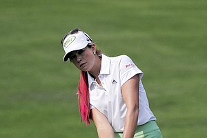 Paula Creamer chips to the 10th green during a practice round for the U.S. Women's Open golf tournament at the Broadmoor Golf Club on Wednesday, July 6, 2011, in Colorado Springs, Colo.