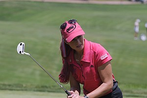 Paula Creamer reacts as she misses a putt on the 11th hole during the weather delayed first round of the Women's U.S. Open golf tournament at the Broadmoor Golf Club on Friday, July 8, 2011, in Colorado Springs, Colo.