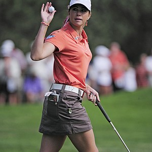 Paula Creamer waves after saving par on the fifth hole during the delayed third round of the Women's U.S. Open golf tournament at the Broadmoor Golf Club on Sunday, July 10, 2011, in Colorado Springs, Colo.