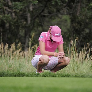 Paula Creamer waits to hit on the eighth hole after bogeying the seventh during the fourth round of the Women's U.S. Open golf tournament at the Broadmoor Golf Club on Sunday, July 10, 2011, in Colorado Springs, Colo.