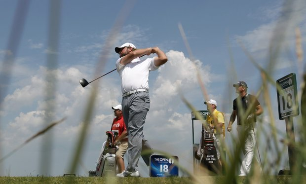 Lucas Glover of the U.S. plays a shot from the 18th tee during the second day of the British Open Golf Championship at Royal St George's golf course Sandwich, England, Friday, July 15, 2011.