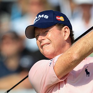 Tom Watson tees off during Round 2 of the British Open.