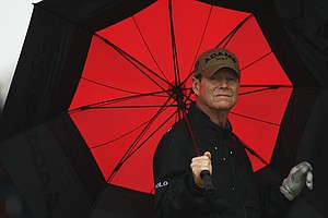 Tom Watson put up a 2-over 72 in hard rain and high winds.