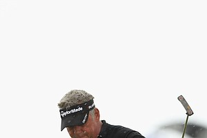Darren Clarke of Northern Ireland celebrates an eagle on the 7th hole during the final round of The 140th Open Championship at Royal St. George's on July 17, 2011 in Sandwich, England.
