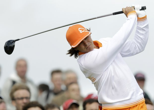 Rickie Fowler of the U.S. hits a shot from the 4th tee during the final day of the British Open Golf Championship at Royal St George's golf course Sandwich, England, Sunday, July 17, 2011.