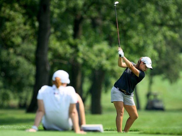Gabi Oubre' tees off at No. 8 at the 63rd U. S. Girls' Junior Championship at Olympia Fields Country Club.