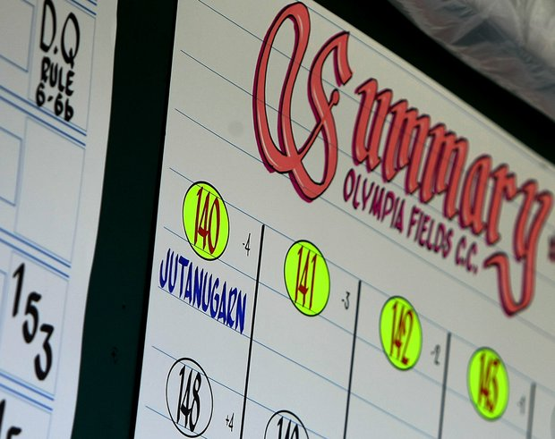 Ariya Jutanugarn is shown alone on the scoreboard with a stroke play total of 140 at the 63rd U. S. Girls' Junior Championship at Olympia Fields Country Club.
