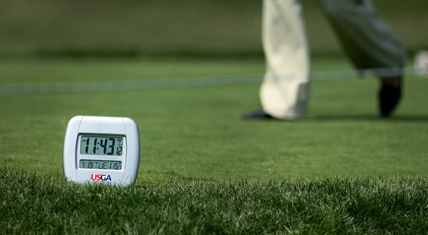 A time and temperature gauge sitting in direct sunlight at No. 1 reads 115 degrees at the 63rd U. S. Girls' Junior Championship at Olympia Fields Country Club.