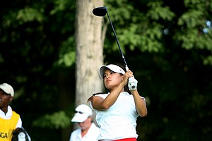 Mariko Tumangan hits her tee shot at No. 17 at the 63rd U. S.  Girls' Junior Championship.
