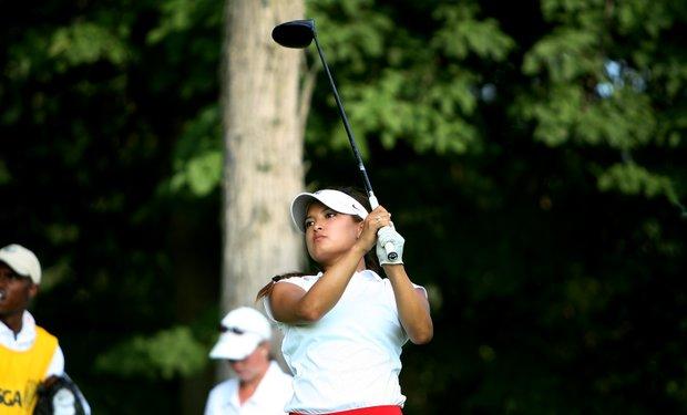Mariko Tumangan hits her tee shot at No. 17 at the 63rd U. S.  Girls' Junior Championship.