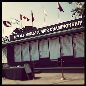 The scoreboard at the 63rd U. S. Girls' Junior Championship.