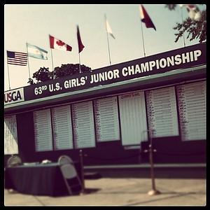 The scoreboard at the 63rd U. S. Girls' Junior Championship.