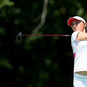 Casie Cathrea hits her tee shot at No. 11 during the Round of 64 at the 63rd U. S. Girls' Junior Championship at Olympia Fields Country Club.