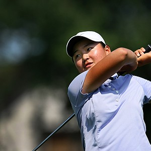 Allisen Corpuz during the Round of 64 at the 63rd U. S. Girls' Junior Championship at Olympia Fields Country Club.
