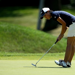 Bryana Nguyen reacts to missing her putt at No. 9 during the Round of 64 at the 63rd U. S. Girls' Junior Championship at Olympia Fields Country Club.