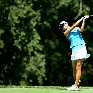 Rachel Dai hits her tee shot at No. 11 during the Round of 64 at the 63rd U. S. Girls' Junior Championship at Olympia Fields Country Club.