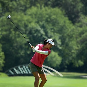 Yueer Cindy Feng hits her tee shot at No. 11 during the Round of 64. Feng defeated Mariko Tumangan, 6&5.