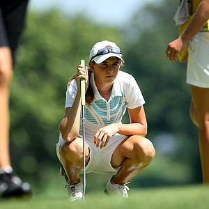 Summar Roachell lines up a putt at No. 10 during the Round of 32 at the 63rd U. S. Girls' Junior Championship at Olympia Fields Country Club.