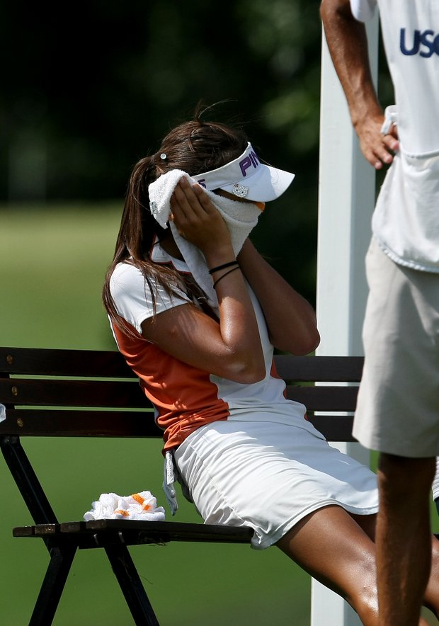 Alison Lee tries to keep cool during the Round of 16. Lee lost her match to Amy Lee on Thursday.