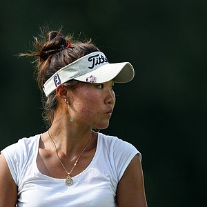 Karen Chung watches her drive at No. 16. Chung defeated Ashlan Ramsey to advance to the Quarterfinals.