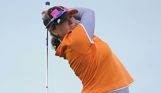 Karen Stupples in action during the first round of the Evian Masters at the Evian Masters Golf Club.