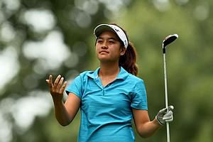 Gabriella Then reacts to a drive during Quarterfinals. She lost to Ariya Jutanugarn.
