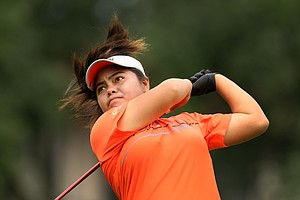 Dottie Ardina pounds a driver down the fairway at No. 8 during the Quarterfinals.