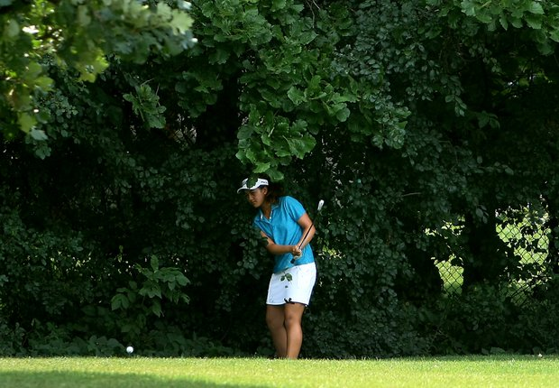 Gabriella Then hits her third shot at No. 16 during Quarterfinals. After failing to advance the shot very far she conceded the hole.