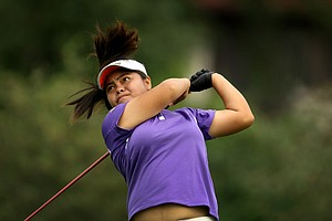 Dottie Ardina powers her drive down the fairway at No. 8 during the morning round.