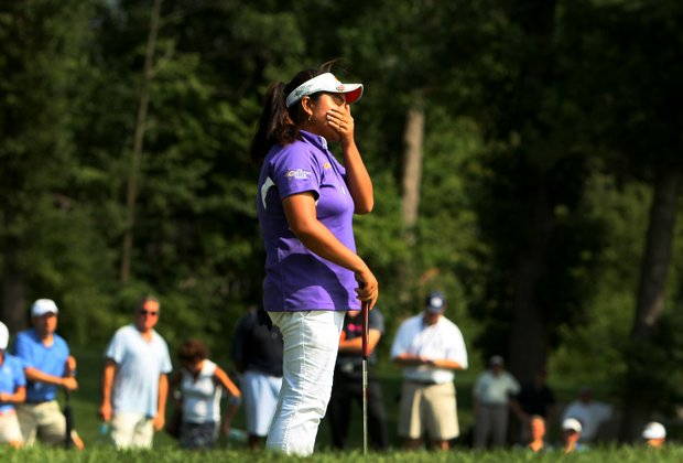 Dottie Ardina reacts to missing her putt at No. 17 during the afternoon round of the final match.