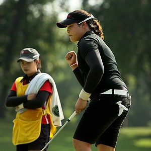Ariya Jutanugarn pumps her fist as her putt drops at No. 17, to win 2 & 1, during the afternoon round of the final match.