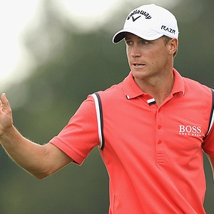 Alexander Noren celebrates during the third round of the 2011 Nordea Scandinavian Masters at Bro Hof Slott Golf Course.