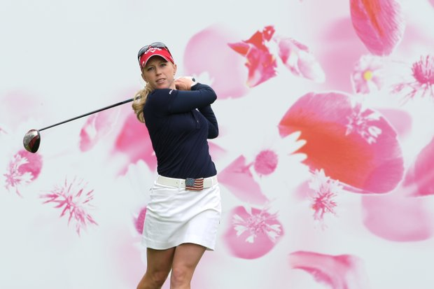 Morgan Pressel of US plays on the first hole during the 4th round of the Evian Masters women's golf tournament in Evian, eastern France, Sunday, July 24, 2011.
