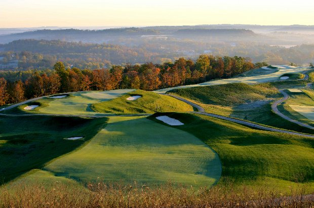 An aerial of The Pete Dye Course at French Lick