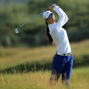 Michelle Wie of the USA hits her 2nd shot on the 2nd hole during the first round of the 2011 Ricoh Women's British Open at Carnoustie on July 28, 2011 in Carnoustie, Scotland.